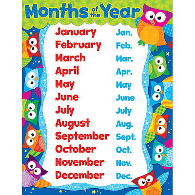 Months of the Year Owl-Stars!
